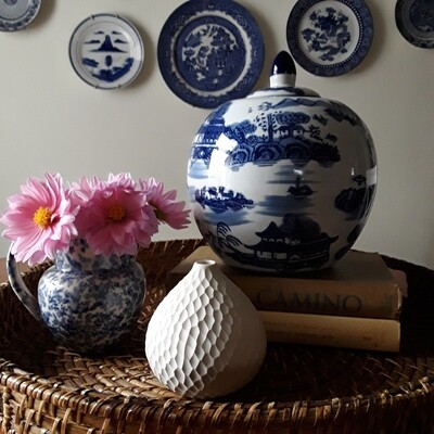 Blue and White Chinese Porcelain Lidded Jar