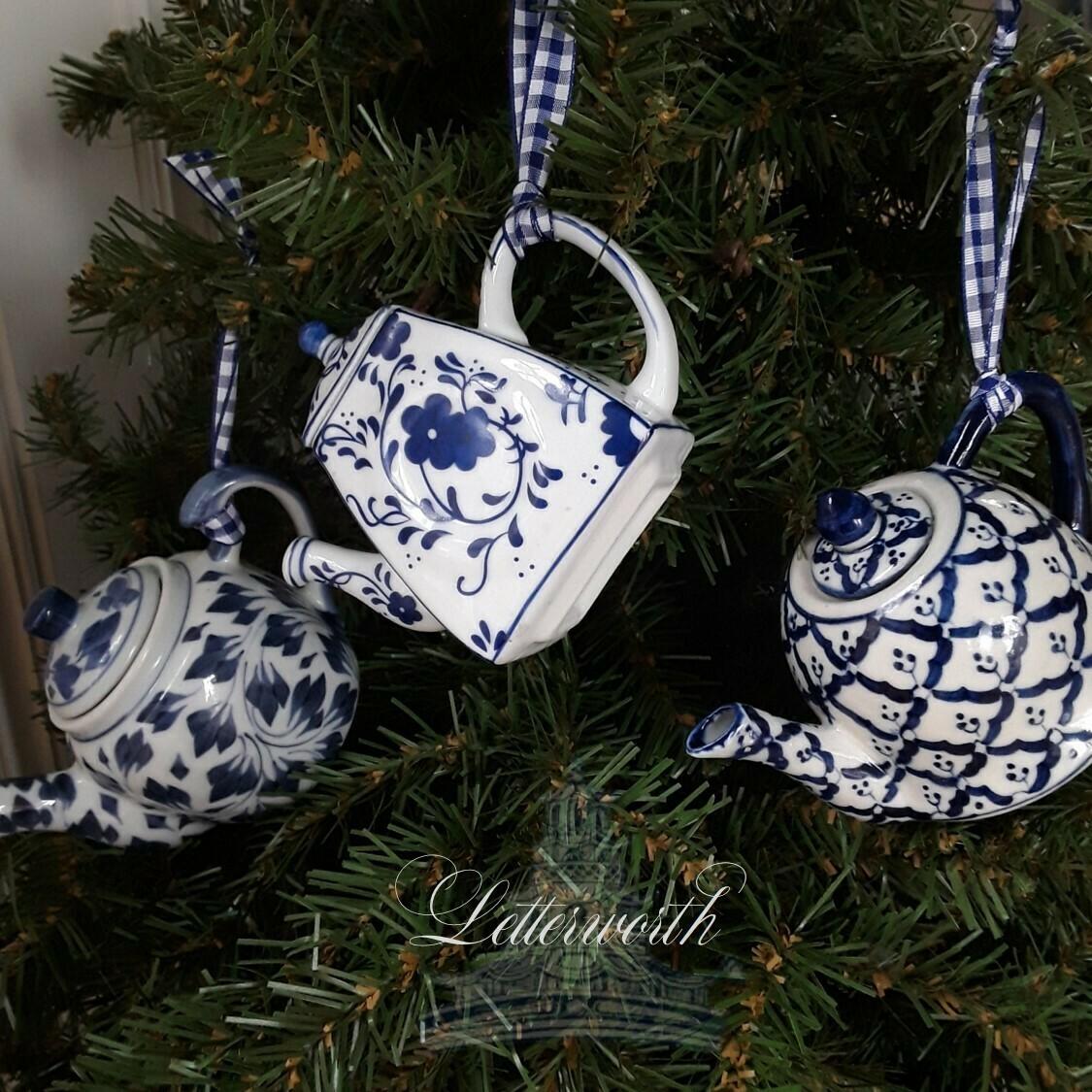 Vintage Miniature Blue and White Porcelain Teapot Ornaments (Set of 3)