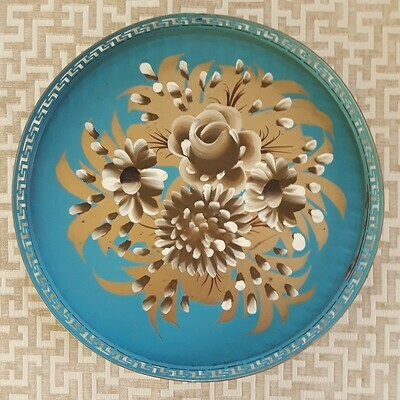 Vintage Teal and Gold Round Floral Tole Tray with Greek Key Border