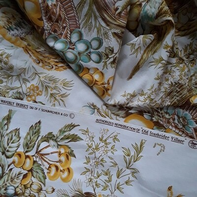 "Vintage Waverly Old Sturbridge Village ""Quincy Document"" Fabric Remnant (3+ Yards)"