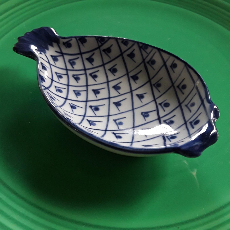 Vintage Blue and White Porcelain  Pineapple Trinket Dish