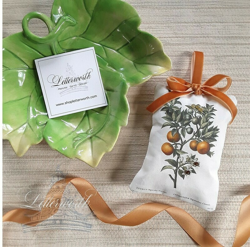 Handmade Botanical Citrus Orange Fabric Sachet by Letterworth II