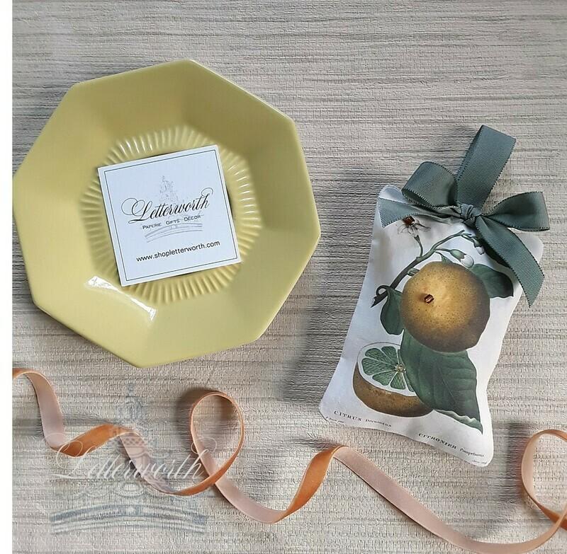 Handmade Botanical Citrus Lemon Fabric Sachet by Letterworth I