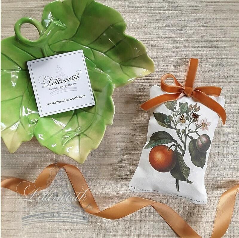 Handmade Botanical Citrus Orange Fabric Sachet by Letterworth I