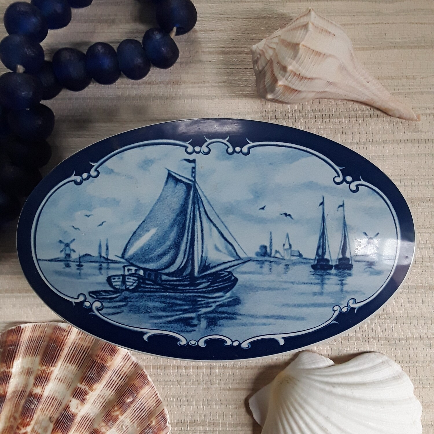Vintage Blue and White Clipper Ship Oval Tin Box