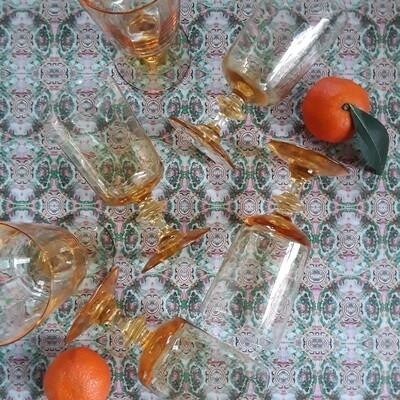 Set of 6 Vintage Orange Glass Goblets