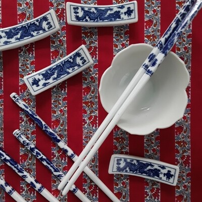 Vintage Blue and White Porcelain Dragon Chopsticks and Rests (Set of 4)