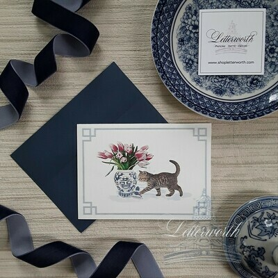 Letterworth Cat with Blue and White Chinoiserie Ginger Jar Note Cards (Set of 8)