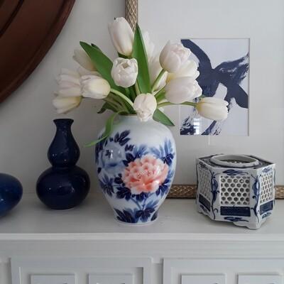Vintage Fukagawa Seiji Peony Porcelain Vase