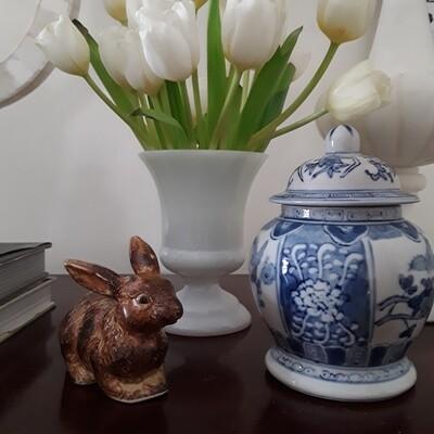 Vintage Brown Ceramic Bunny Rabbit Figurine