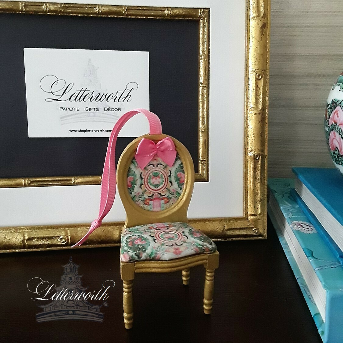 Handcrafted Rose Medallion Louis XVI Chair Ornament by Letterworth