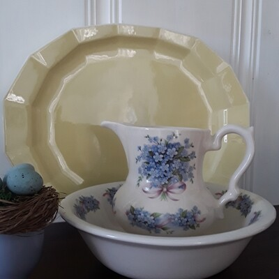 Vintage Empress English Ironstone Forget-Me-Not Pitcher and Bowl