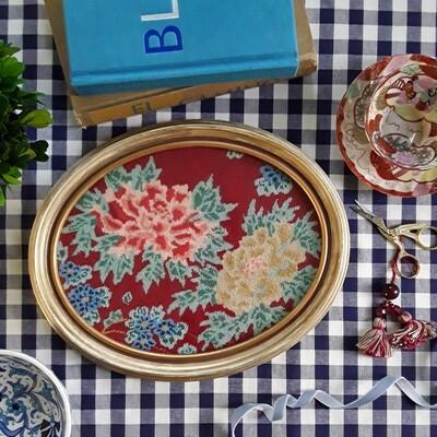 Vintage Floral Petit Point in Oval Frame