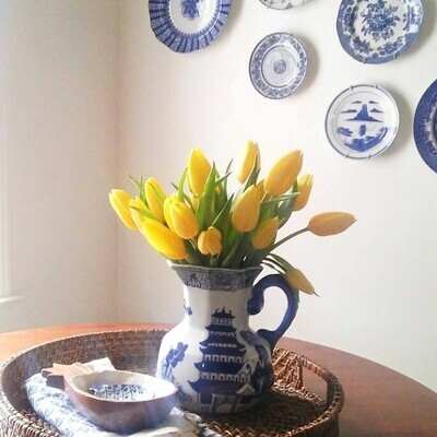 Vintage Blue and White Chinese Porcelain Pagoda Pitcher