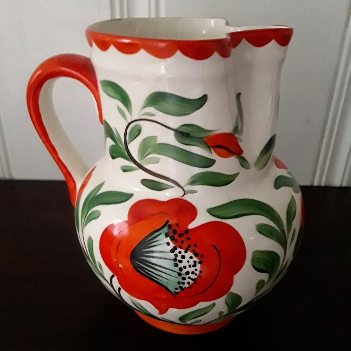 Vintage Hand-Painted Orange Floral Pitcher Erphila Art Pottery Czecho-Slovakia