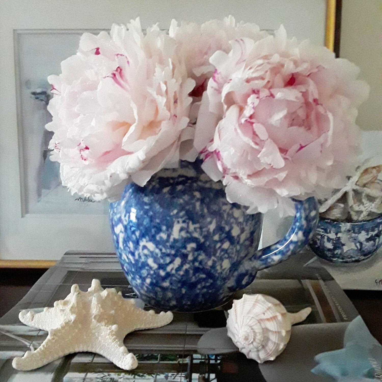 Vintage Blue and White Spongeware Ceramic Pitcher