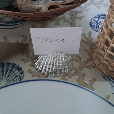 Silver-Plated Seashell Place Card Holders (Set of 8)
