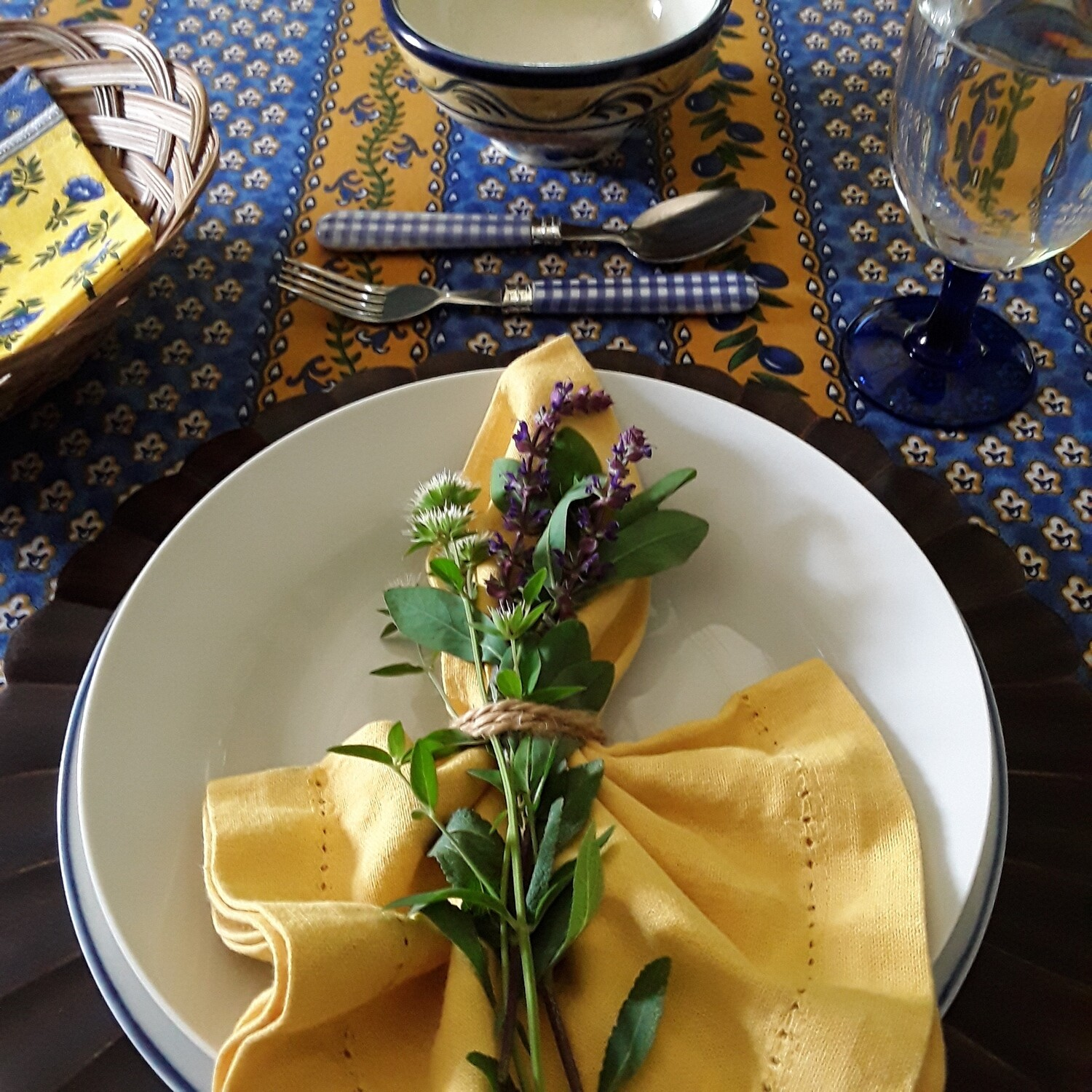 Vintage Blue and Yellow French Provençal Tablecloth