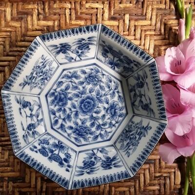 Vintage Blue and White Arita Porcelain Octagonal Bowl