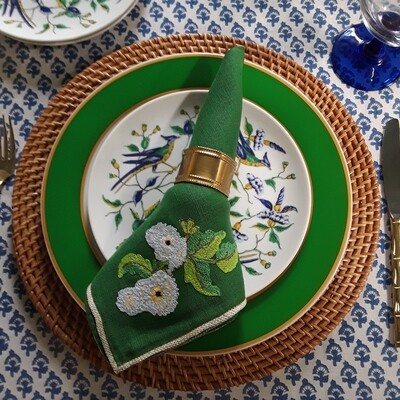 Vintage Crewel Embroidery Green Fabric Napkins (Set of 6)