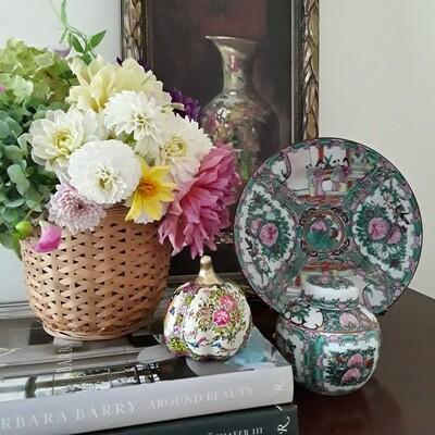 Vintage Rose Medallion Porcelain Plate