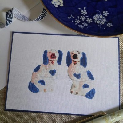 Blue and White Staffordshire Dog Note Cards by Letterworth (Set of 8)