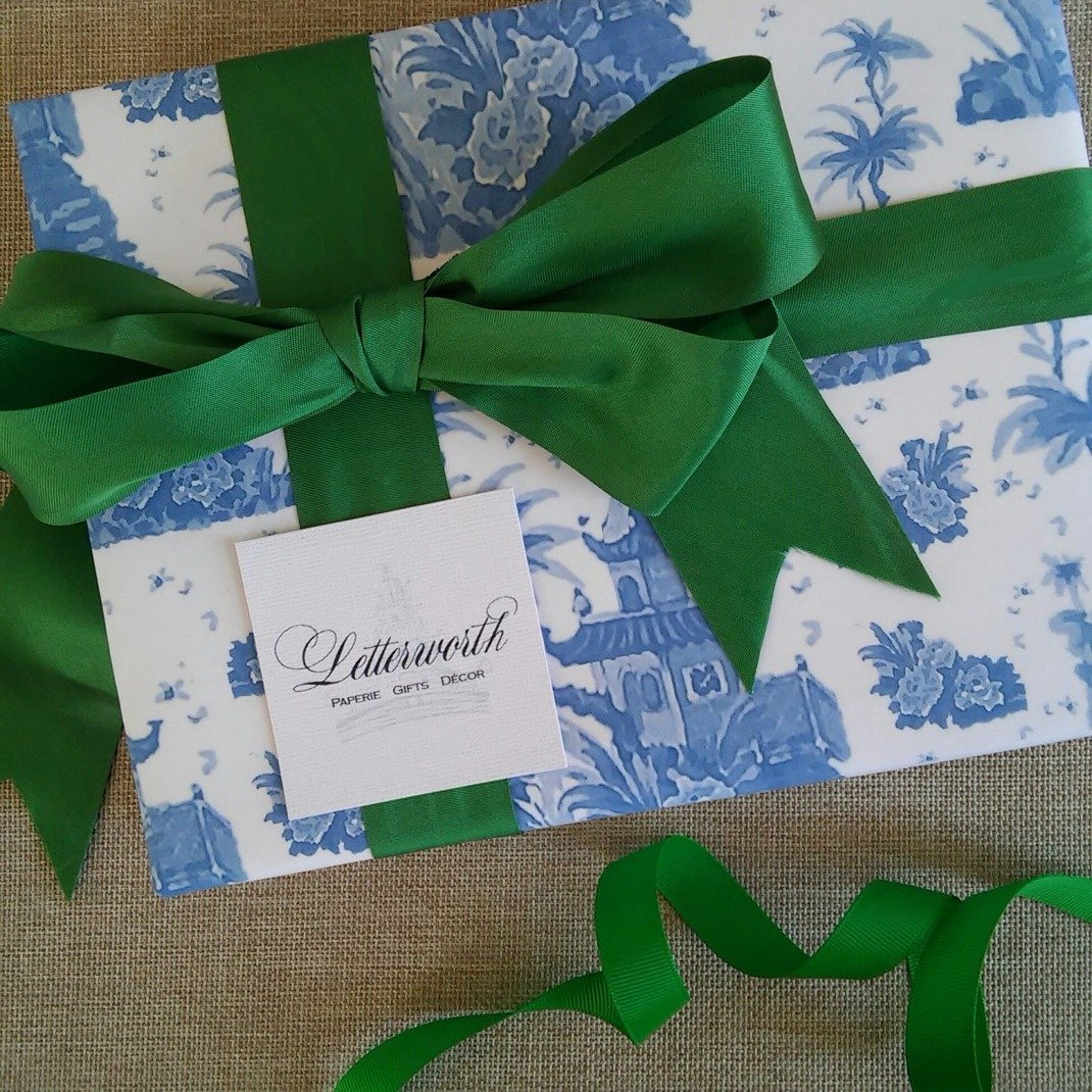 Blue Pagoda Watercolor Toile Chinoiserie Gift Wrapping Paper by Letterworth