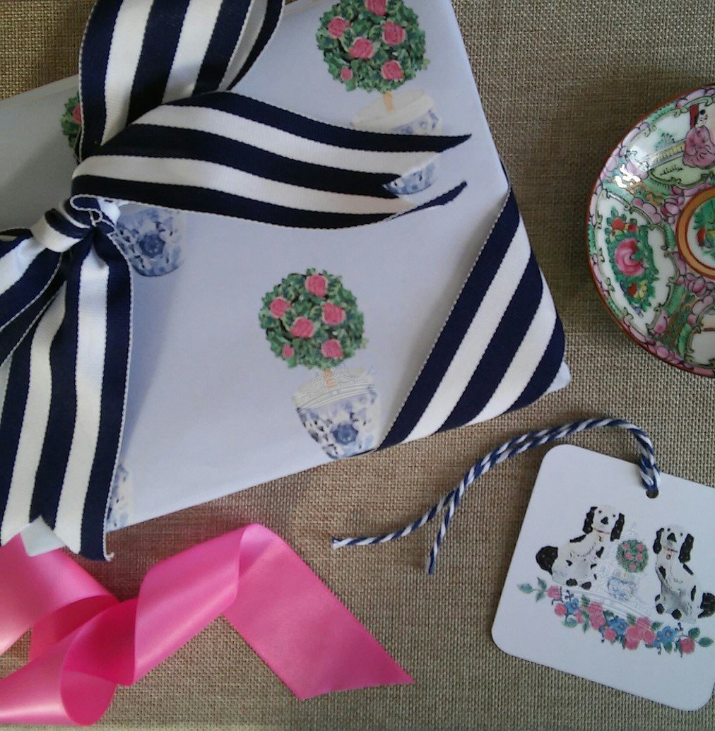 Chinoiserie Rose Topiary on French Blue Gift Wrapping Paper by Letterworth