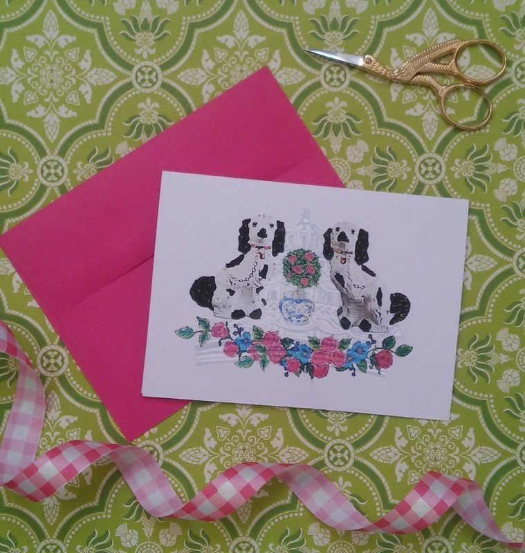 Staffordshire Dog Floral Note Cards by Letterworth (Set of 8)