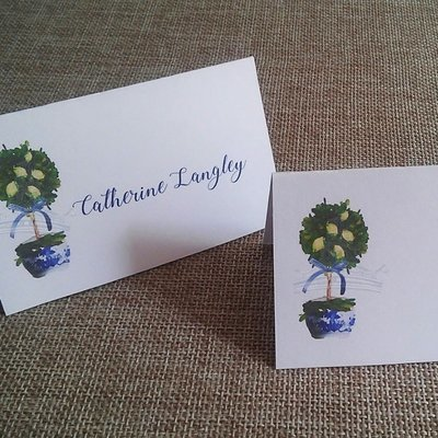 Lemon Topiary Blue and White Chinoiserie Place Cards by Letterworth (Set of 12)