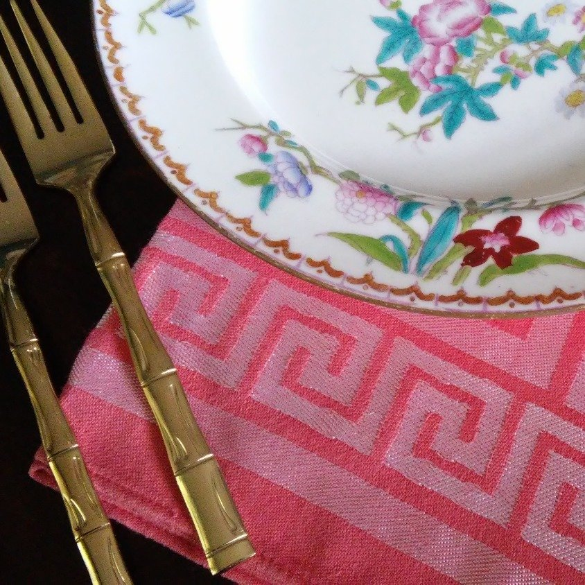 Vintage Damask Napkins Coral Greek Key (Set of 10)