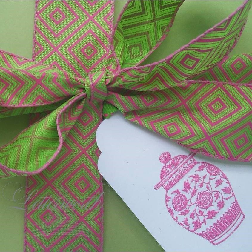 Hand-Embossed Pink Ginger Jar Gift Tags by Letterworth (Set of 10)