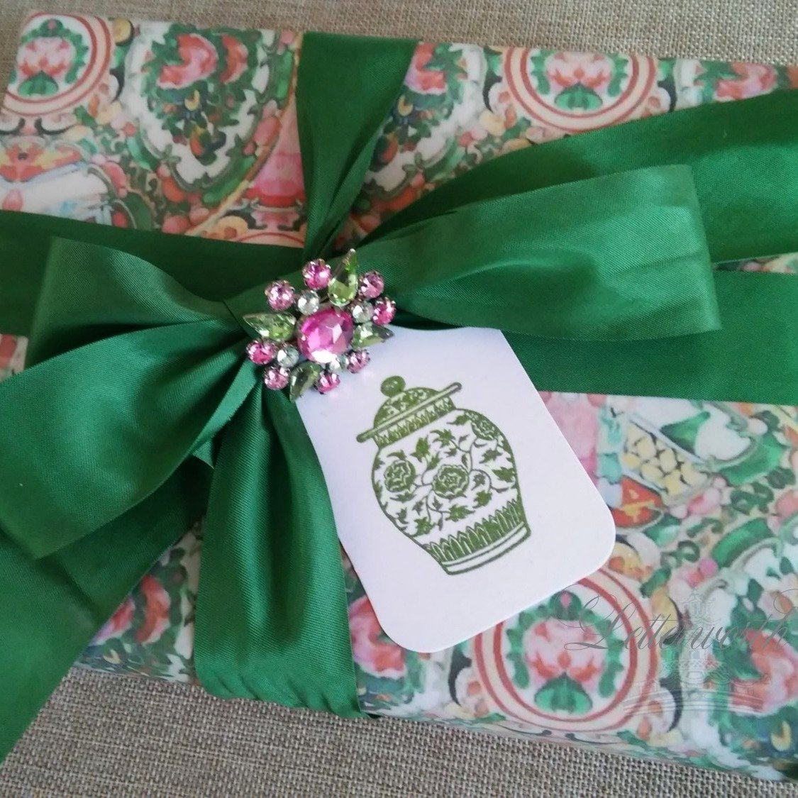 Hand-Embossed Green Ginger Jar Gift Tags by Letterworth (Set of 10)