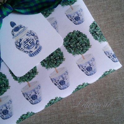 Chinoiserie Topiary in Blue and White Cachepot Gift Wrapping Paper by Letterworth
