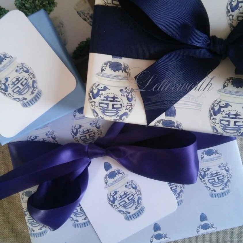 Blue and White Chinoiserie Ginger Jar on French Blue Gift Wrapping Paper by Letterworth