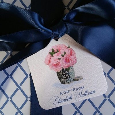 Pink Peonies in Blue and White Ginger Jar Chinoiserie Gift Tags by Letterworth (Set of 12)