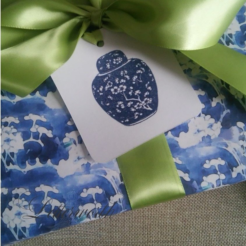 Chinoiserie Prunus Blossom Blue and White Gift Wrapping Paper by Letterworth