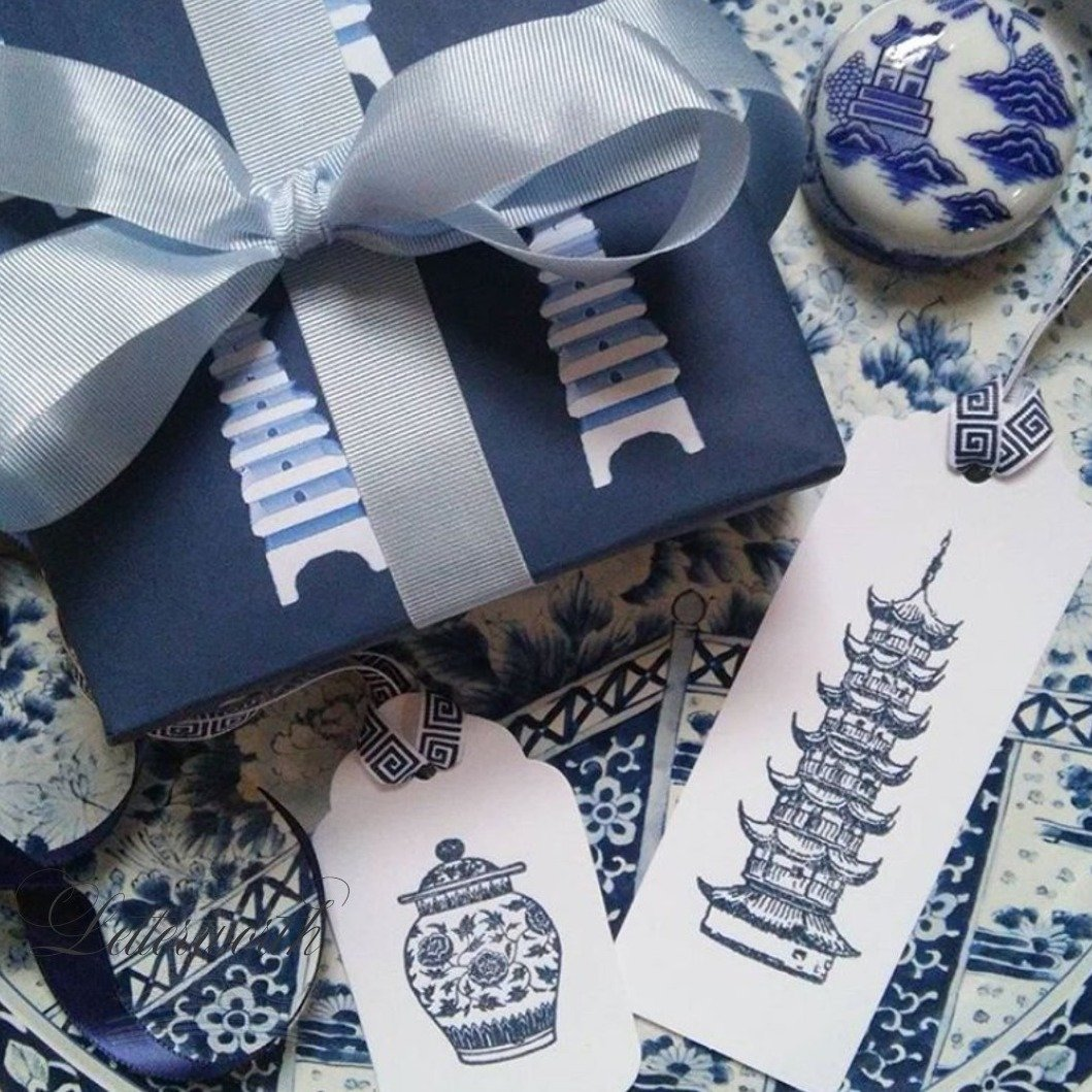 Hand-Embossed Blue Pagoda Chinoiserie Gift Tags by Letterworth (Set of 10)