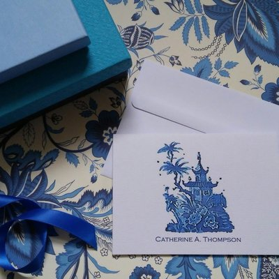 Blue Pagoda Chinoiserie Watercolor Note Cards by Letterworth (Set of 8)