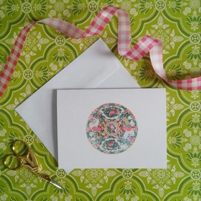 Rose Medallion Chinoiserie Watercolor Note Cards by Letterworth (Set of 8)