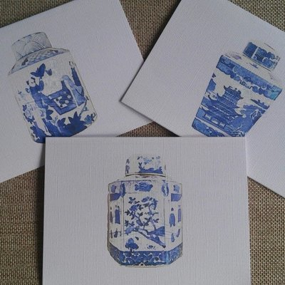 Watercolor Chinoiserie Tea Caddy Note Cards by Letterworth (Set of 6)