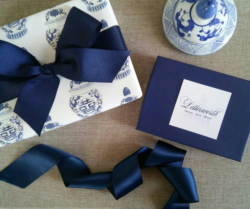 Blue and White Chinoiserie Ginger Jar Gift Wrapping Paper by Letterworth