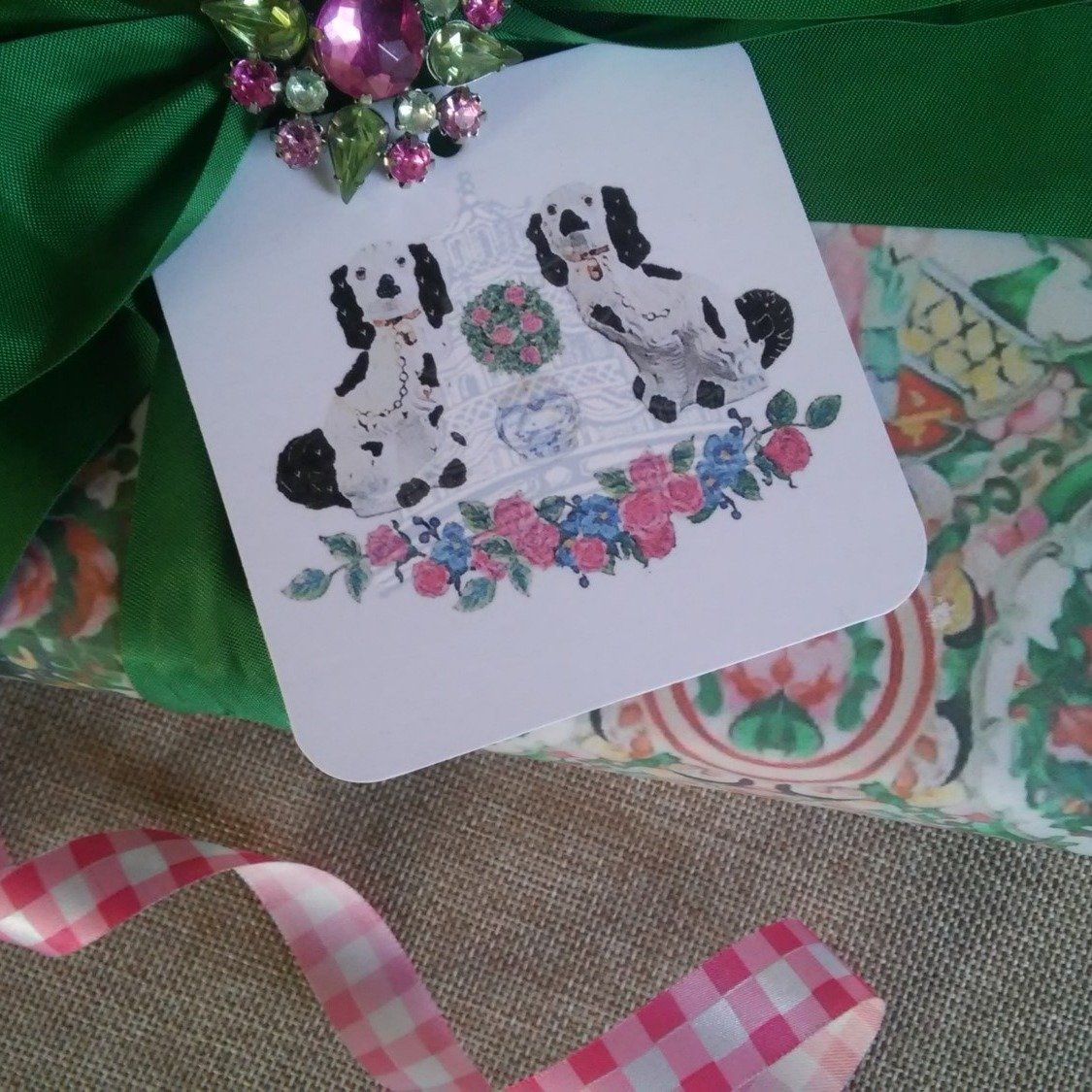 Staffordshire Dog Spring Floral Gift Tags by Letterworth (Set of 12)