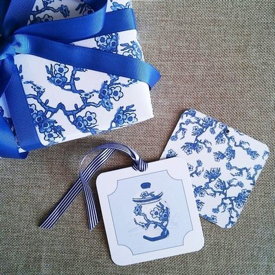 Blue and White Chinoiserie Blossom Gift Wrapping Paper by Letterworth