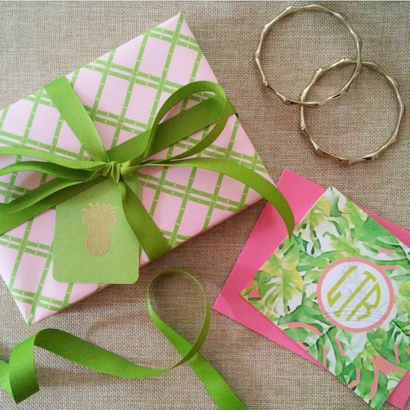 Pink and Green Bamboo Trellis Gift Wrapping Paper by Letterworth