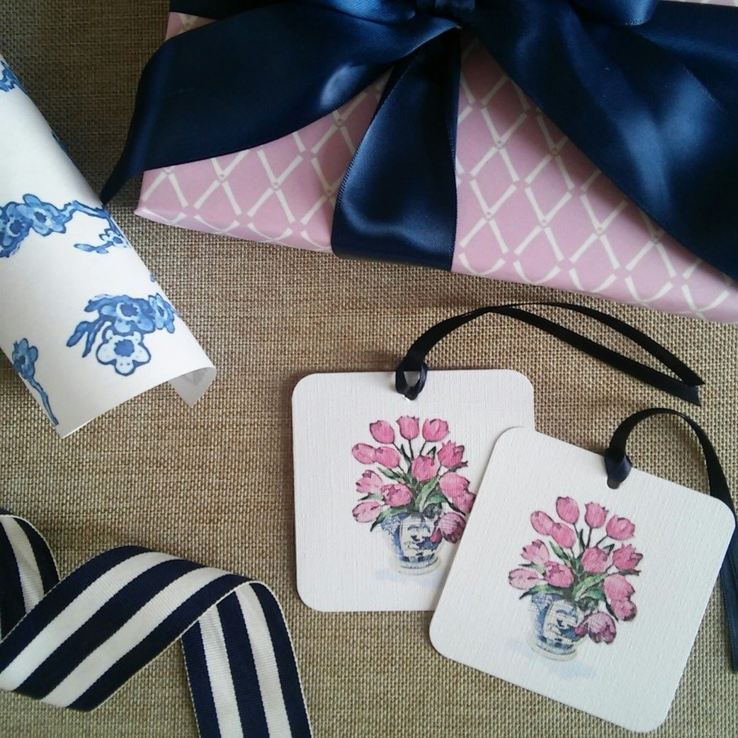 Chinoiserie Tulip Gift Tags by Letterworth (Set of 12)