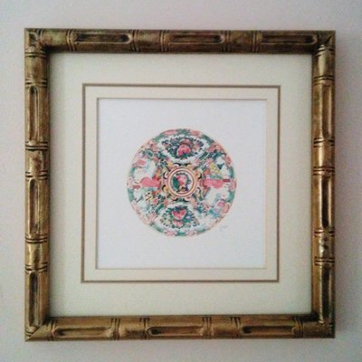 Rose Medallion Watercolor Giclée Print Matted in Gold Faux Bamboo Frame by Letterworth
