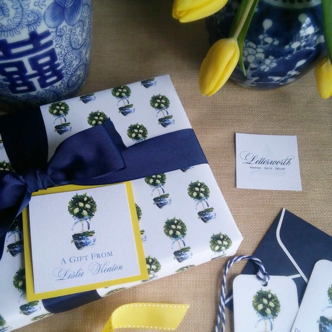 Lemon Topiary Blue and White Chinoiserie Gift Wrapping Paper by Letterworth