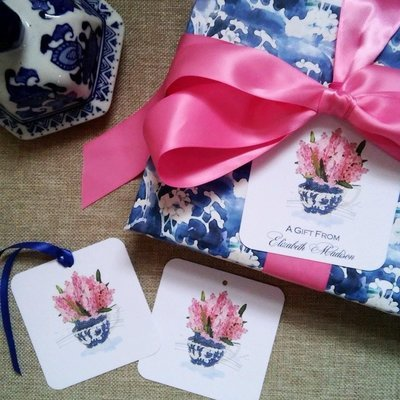 Chinoiserie Pink Hyacinth Gift Tags by Letterworth (Set of 12)