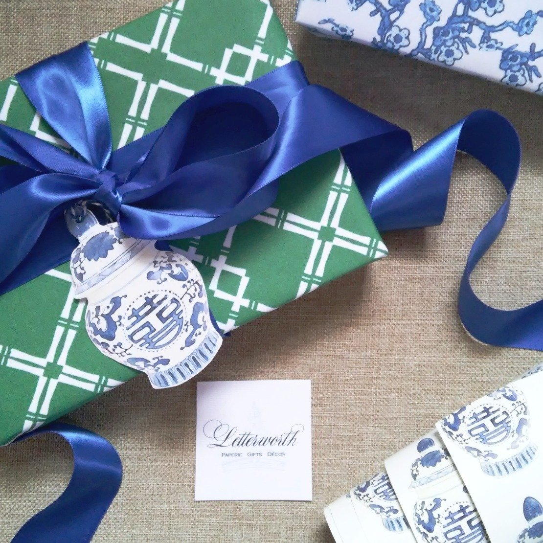 Green and White Chinoiserie Fretwork Gift Wrapping Paper by Letterworth